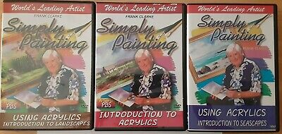 Frank Clarke Acrylics DVD, lot of ( 3 ) used, Simply Painting