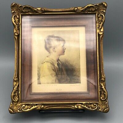 Antique Mahogany and Gesso Picture Frame Gold Gilt