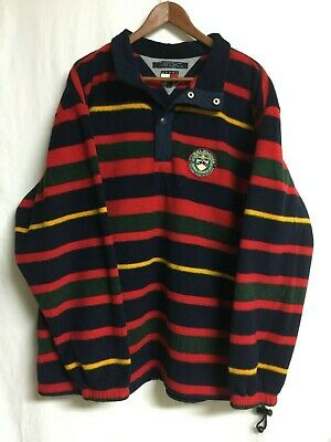 VTG 90s Tommy Hilfiger Pullover Fleece jacket sweater Large Striped Circle Patch