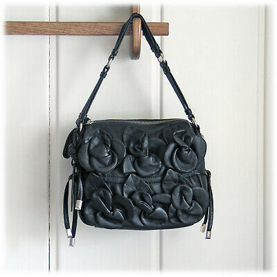 CYNTYHIA ROWLEY Soft Supple Leather Flower 3D Applique Black Bag MSRP $385 NWOT