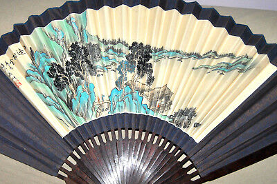 """Extra Large Hand Painted Silk Decorative Oriental Fan Wood Signed 26 3/4""""L"""