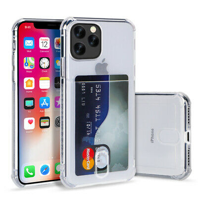 For iPhone 11 Pro Max XS XR 7 8 Transparent Card Slot Soft Silicone Case Cover
