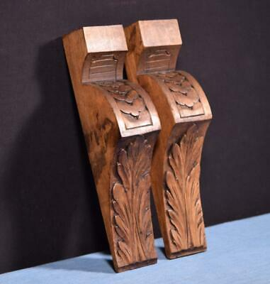 "*Pair of 11"" tall French Antique Solid Walnut Wood Corbels/Brackets Salvage"