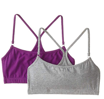 Trimfit Girls' Racerback Crop Top (Pack of 2), Grey Mix/Purple, Large