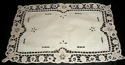 Vintage Centrepiece Doily Embroidered Flowers on Cream Cotton