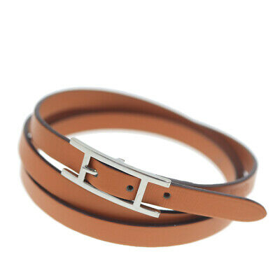 Hermes API III Bracelet Choker Leather Brown I Stamp Accessories