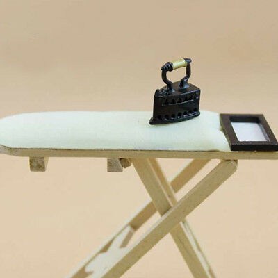 1:12 scale Doll House Miniature Iron With Ironing Board set Pretend Play SJAU
