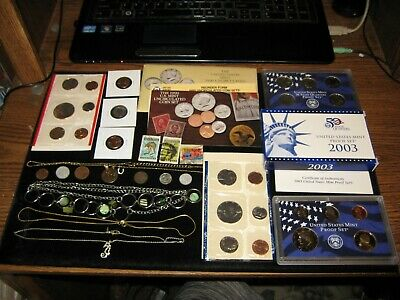 Junk Drawer Coin Lot 1990 Mint Set 2003 Proof Set Lot Golden Dollar Jewelry Lot