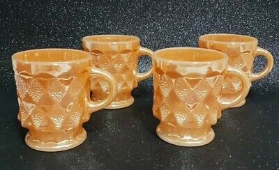 ANCHOR HOCKING FIRE KING, DIAMOND PATTERN PEACH LUSTRE GLASS MUGS - 4 Available.