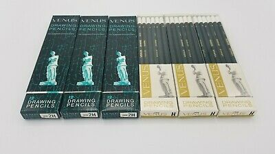 72 Pcs Vintage Venus Drawing Drafting Pencils Original Boxes H & 2H 3800 Hard