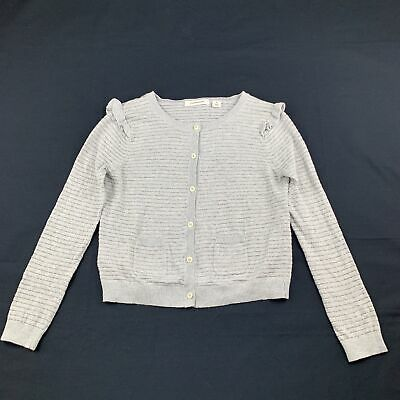Girls size 6, Country Road, grey & silver lightweight knitted cardigan, GUC