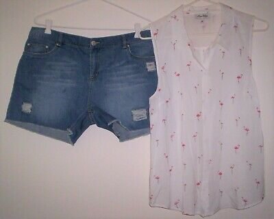 Pretty White w/ pink Flamingos Sleeveless Shirt & Cute Distressed Shorts Sz 12