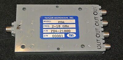 TAYLOR MICROWAVE PD4-21800 4 Way Power Divider 2-18 Ghz