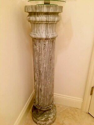 Antique Italian Grey & White Marble Pedestal