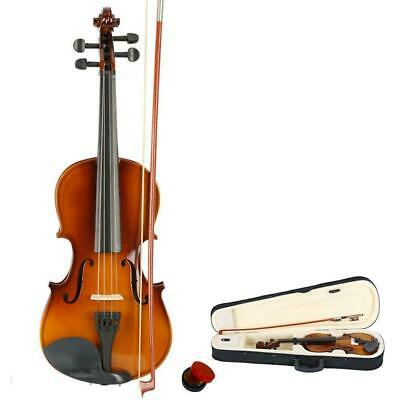 New Natural School Basswood Size 3/4 Acoustic Violin Fiddle + Case + Bow + Rosin