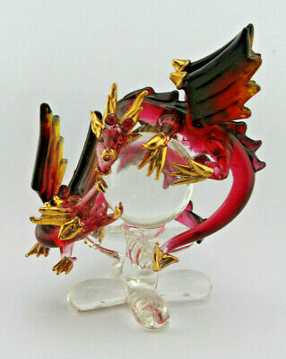 Blown Glass Mystical Dragons Figurine and Magic Ball - Red & Black