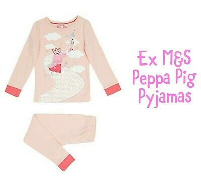 Ex M&S Peppa Pig Girls Snuggle Pyjamas PJs Sleepwear Age 2 3 4 5 6 Years RRP £15