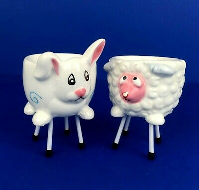 White Sheep and Rabbit Ceramic Egg Cups