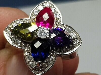 Exeptional Extremely Rare Vintage Silver Ring Superb Rare Stones.7,8 Gr.18 Mm