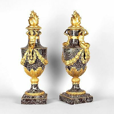 Rare Large Pair of Antique Marble and gilt bronze Vases Louis XVI Style 19c