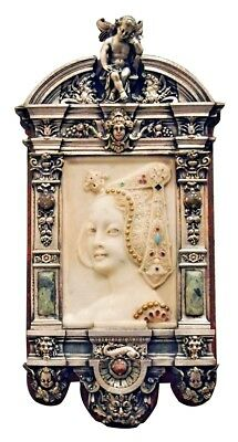 Beautiful Mid 19th Century Plaque Representing a Profile of a Woman in Marble