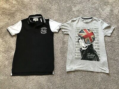 2 x FIRETRAP BOYS SHORT SLEEVED TOPS GREY BLACK AGE 10-11 YEARS