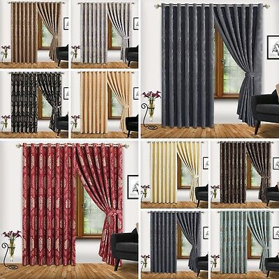 New Jacquard Ring Top Fully Lined Eyelet Tape Pair Curtains + 2 Free Tie Backs