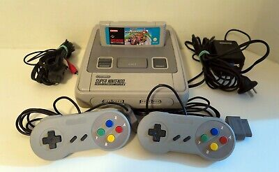Super Nintendo SNES Console + 2 Controllers + Super Mario Kart Game - Free Post