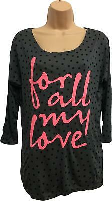 Girls H&M Grey & Black For All My Love Top Size 14-15 Years