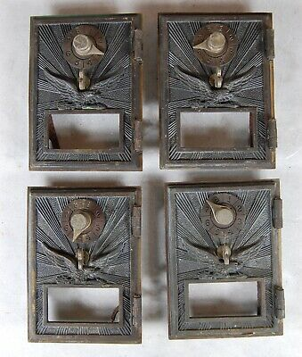 QTY. 4 Antique US Soaring Eagle Post Office PO BOX Brass Door Combination Lock.