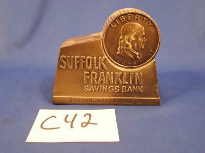 C42 Vintage Suffolk Franklin Savings Bank Boston Promotional Piggy Bank Coin