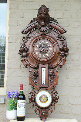 XXL Top antique BLACK FOREST wood carved Wall clock barometer lion head
