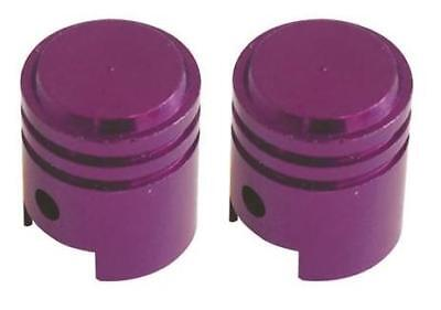 Bike It Motorcycle Tyre Pair Round Purple Anodised Large Valve Caps BC6311 - T