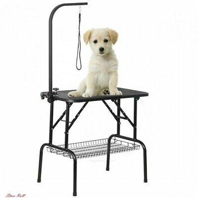 Dog Grooming Table Drying Adjustable Pet Cat Foldable Height Arm Noose Mesh Tray