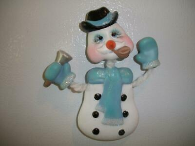 Ceramic Bisque Hand-Painted Snowman Poseable Refrigerator Magnet