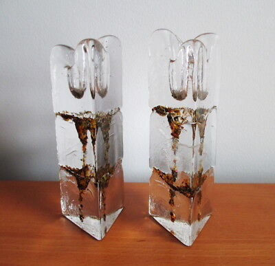 Thorn Glass Studio 2 Candle Holders Textured Triangular Brown Lava Signed Canada