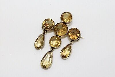 A Quality Antique Victorian Sterling Silver Gilt 925 Citrine Brooch #14890