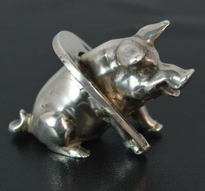 Rare Hallmarked Sterling Silver Victorian Good Luck Pig and Horseshoe Miniature