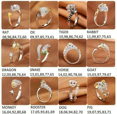 925 Silver Plated Chinese New Year Of The Animal Ring Horoscope Zodiac B