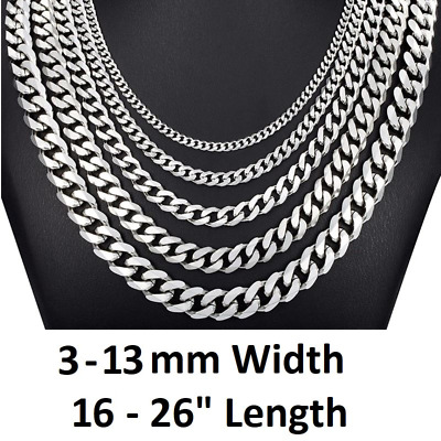 """*UK* Stainless Steel 316L Silver 3,5,7,9,11mm 18-26"""" Mens Curb Chain Necklace"""
