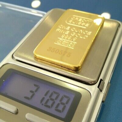 Iron Plated 24K Gold Bullion Bar CREDIT SUISSE. 1 Oz. Non Magnetic.