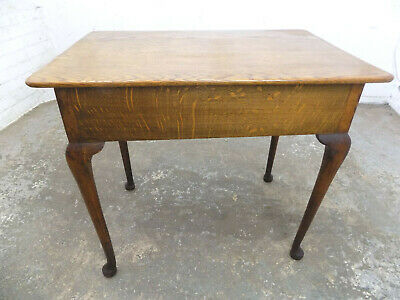 antique,edwardian,small,oak,hall table,side,end,table,cabriole legs,pad feet,
