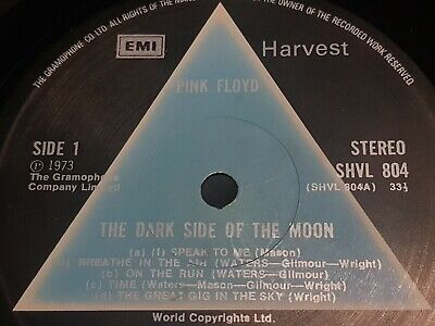 PINK FLOYD Dark Side Of The Moon 1973 Harvest UK 1st Press A2B2 Solid Blue RARE