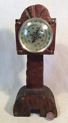 """Collectable Vintage Rustic Wooden """"Grandfather Clock"""" Shaped Thermometer"""