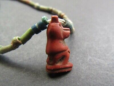 NILE  Ancient Egyptian Red Jasper Thoth Amulet Mummy Bead Necklace ca 600 BC