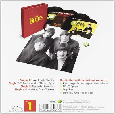"The Beatles Ltd. Edition & Numbered 4 7"" vinyl singles w/ Poster Box Set Sealed!"