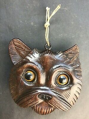 Rare Antique Black Forest Carved Wooden Cat Pull Tounge Rolling  Eyes