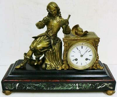 Antique French 8 Day Slate Striking Mantle Clock William Shakespeare Figurine