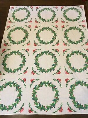 "Vintage White Tablecloth w/ Green Holly & Red Berry Wreaths 51"" X 68""   (EE34)"