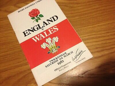 International Rugby Union Football Programme  England V Wales  6/3/82